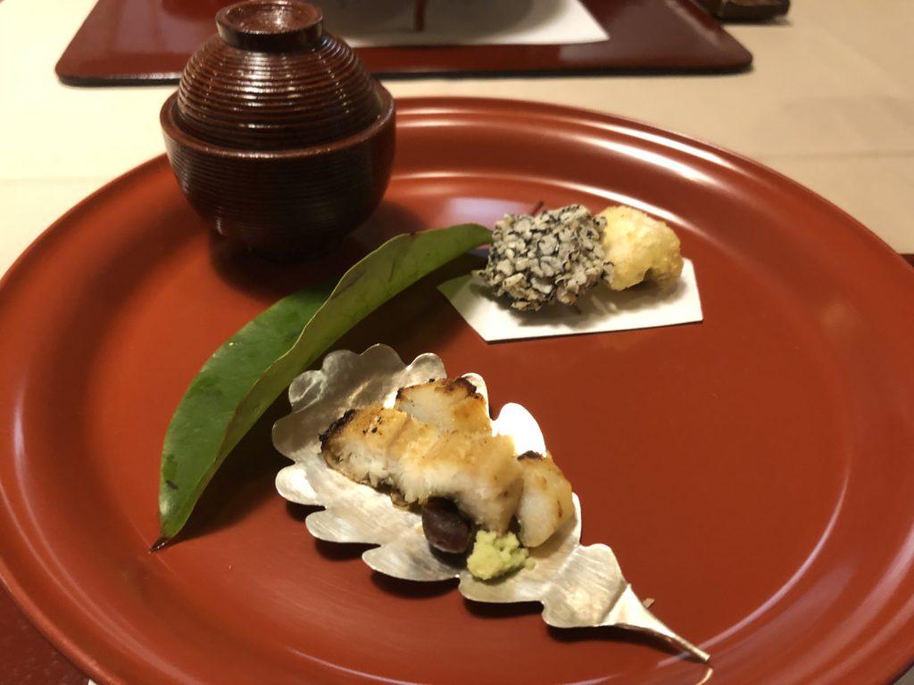 石亭の夕食(先付:穴子三昧)