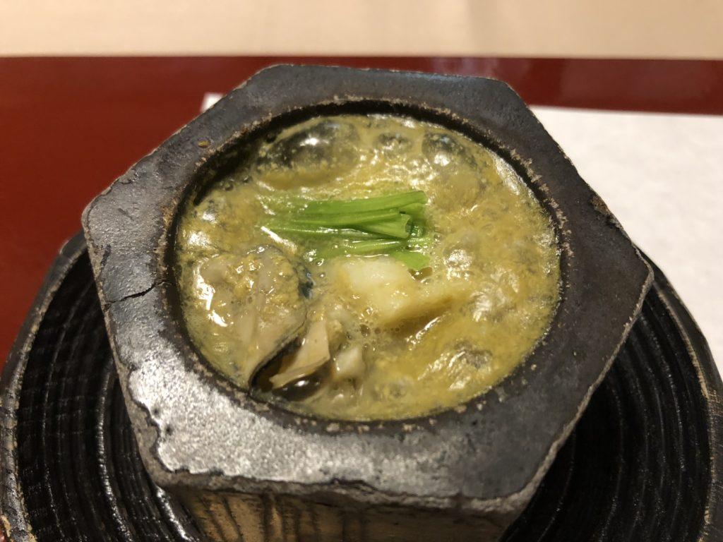 石亭の夕食(箸休:牡蠣のリゾット風)